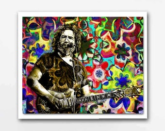 The Grateful Dead, Jerry Garcia, Jerry Garcia Art, Grateful Dead Print, Hippie Art, Hippies, Grateful Dead Poster, Jerry Garcia Print Poster