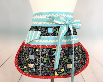 Math Teacher Half Vendor/Utility Sassy Apron, Womens Regular and Plus Sizes, 6/8 Pockets, great for Teachers, Gardening, Crafts