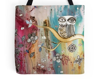 Owl tote bag boho Style bag surreal owl art tote original mixed media painting artist tote bohemian tote owl accessories owl computer bag