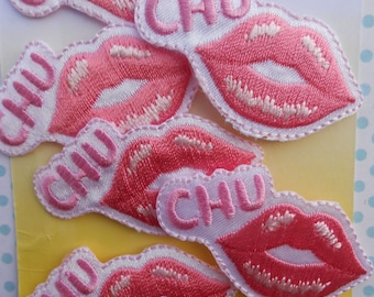 Iron-on Kiss Applique Patches Set of 2