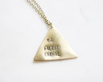 Merry Christmas Ya Filthy Animal | Home Alone Necklace | Ugly Christmas Necklace | Home Alone Gifts | Triangle Necklace | Geometric Necklace