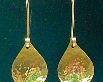 Gold Earrings / Hammered Gold Drop Earrings/ Gold Dangle Earrings / Ladies Gift / Simple Minimalist Earrings / Classic / Teardrop Earrings