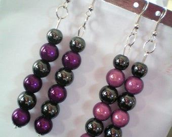 Dangling earrings, Hematite and magic beads - 8 cms h