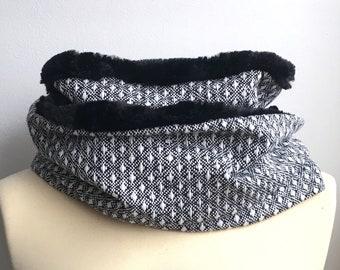 Snood femme adulte ado lainage noir blanc chiné doublé 2 tours pois
