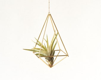 Hanging Air plant geometric holder, mobile Himmeli Octahedron No02, gold plant hanger, air plant geometric planter, airplant display, OC02