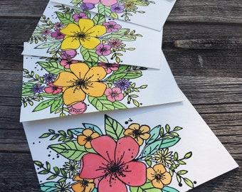 Set of 5 Watercolor Flower Cards, Assorted Colors