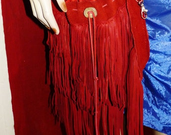 Frange et plus deerkskin de franges en cuir sac, porte clé spécial, regalia, sac hippie, woodstock, pow-wow,