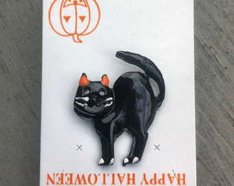 1960s-70s Vintage HALLOWEEN Pin BLACK CAT Design