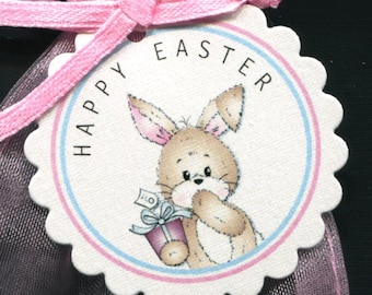 Easter Bunny Tags - Easter Favor Tags - Gift Tags - Easter Tags  - Candy Tags - Easter Bunny With Gift - 25