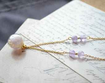 Amethyst Crystal with 18k gold bead and Real flower glass globe necklace