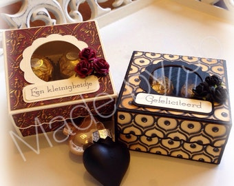 Box for four Ferrero Rocher. Digital cutting file. Silhouette Studio file!