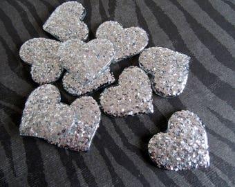 Silver Hearts, Glitter Hearts, Resin Hearts, Wedding Heart Decor Cabochons, Silver Valentine Hearts, Heart Flatbacks, Kawaii Hearts - 20 pcs