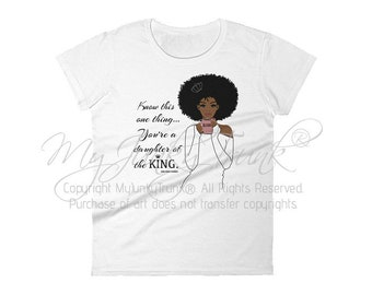 Daughter of the King- African American Natural Hair Women's short sleeve t-shirt