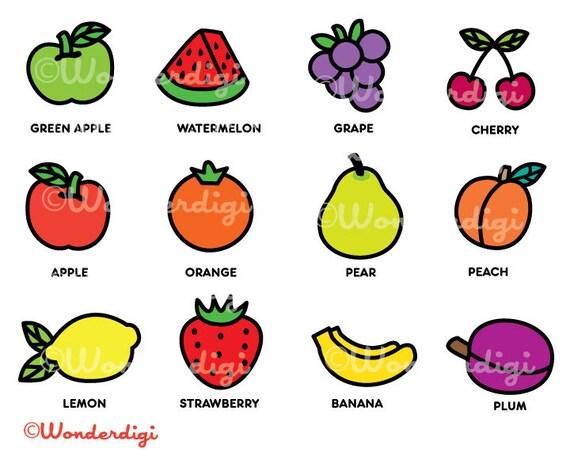 fruits clip art kawaii clipart fruits clipart rh etsy com clip art fruit stand clip art fruit and vegetables