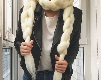 Chunky Scarf - Knitted Scarf - Chunky Knit Scarf - Merino Wool Scarf - Throw Scarf - Giant Scarf - White Scarf - Wool Scarf - Scarf