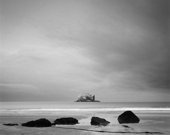 bass rock photograph, black and white photography, landscape photography, fine art photography, large wall art, home decor, office decor