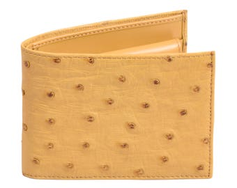 Ostrich leather wallet Yellow by Beretti