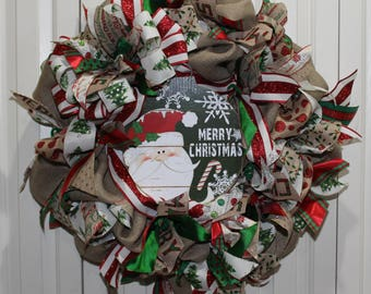 Extra Large burlap Christmas Holiday wreath. Burlap Santa Merry Christmas wreath