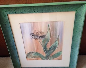GEN (Genevieve) Matucha Vintage Framed Floral Fingerpaint Floral