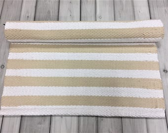 Beige white rugs, runner rugs, Scandinavian rug, nursery rug, handwoven rugs, striped cotton rugs,  kitchen rug, washable rug, ready to ship