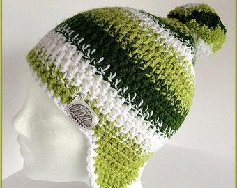 Pom pom beanie, Winter hat ear flaps, Green ski beanie, Women winter hat, Green hat, Green chunky cap, Ear flaps beanie, Pom pom ear flaps
