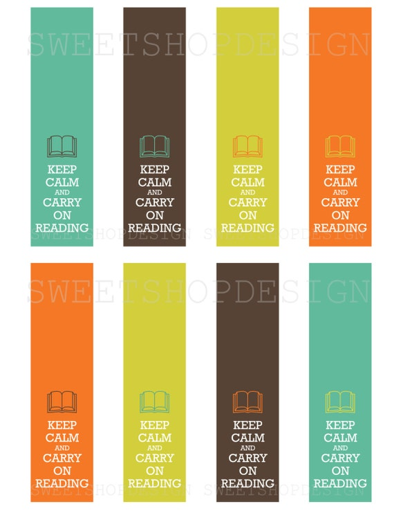 Fabulous Keep Calm & Carry On Reading Digital Bookmark Printable JP08