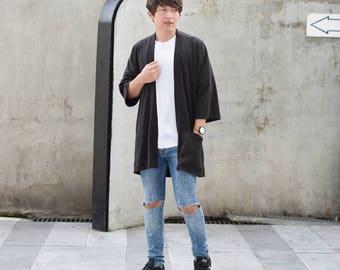 Men's Black Long Japan Kimono Cardigan, Man Noragi Coat, Oversized Street Haori Jacket, Unisex Streetwear, Loose Style Yukata Overcoat