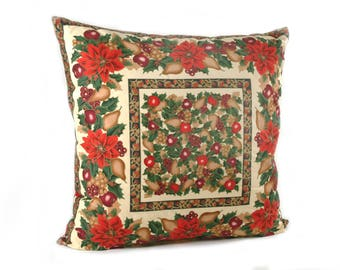 Poinsettia Pattern Square Christmas and Holiday Pillow