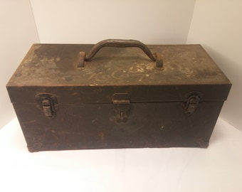 Primitive Vintage Tool Box - 1950s Mid Century Industrial, Cantilevered 6 bin compartment plus main toolbox.