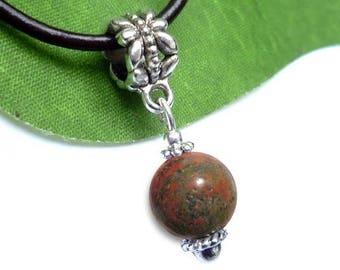 Silver plated sphere pendant - unakite