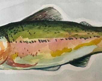 Rainbow trout original gouache painting