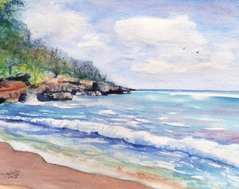 Kauai Beach - 5 x 7 Art Print - Mahaulepu Beach - Kauai Hawaii - Tropical Seascape Art - Kauai Ocean Print - Watercolor Print - Home Decor
