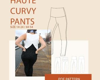 Plus size pants pattern/womens plus size pants pdf sewing pattern/plus size woven pants digital sewing pattern for women