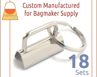 """1-1/4 Inch Deluxe Key Fob Hardware, Shiny Nickel Finish, 18 Sets, 1.25"""", Purse Handbag Hardware, Jewelry Supply, KRA-AA005"""