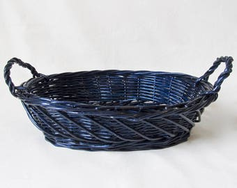 Two Handled Blue Woven Wicker Bread Basket