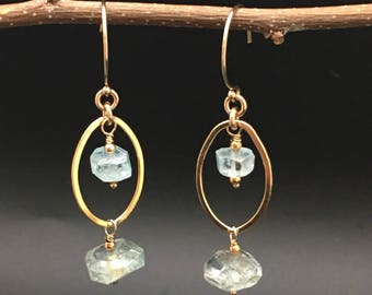 Aquamarine earrings, gold earrings, March birthstone earrings, OOAK earrings,Artisan gemstone earrings, earrings under 100