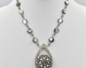 Upcycled Vintage Rhinestone Earrings as Pendant on Faceted Black, Mother-of-Pearl and Swarovski Crystal Necklace