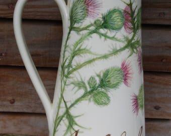 Tall thistle jug, bespoke, peresonalised ceramics, art, wedding, valentine, anniversary
