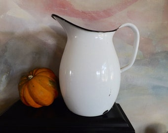 Large Vintage White Enamel Pitcher Shabby Chic Or French Country Decor
