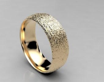 Acacia Koa Bark Wedding Ring in Recycled Gold or Palladium, Mens or Womens Wide Wedding Band Wood, Size 9 Ring, Size 10 Ring, Size 8 Ring