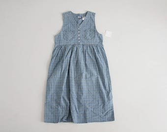plaid jumper dress | 90s jumper | chambray cotton dress