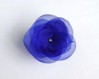 Cobalt Blue Organza Flower Hair Pin