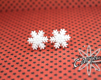 Snowflake plugs for gauged ears 6mm 2G stretched white snow winter
