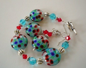 SALE Ready TO SHIP Poppy Garden Red and Turquoise Lampwork and Swarovski Beaded Bracelet Set