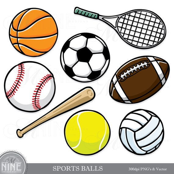 sports balls clip art sports clip art downloads scrapbook rh etsy com Scrapbook Supplies Clip Art Black and White Clip Art Scrapbook