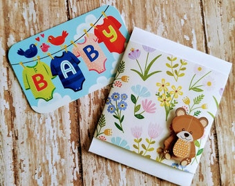 Set of 3 Mini Slide Out Blank Gift Card Holder with Teddy Bear Sticker