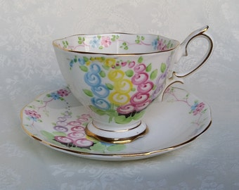 Hand Painted Royal Albert Footed Tea Cup, Royal Albert China, English Bone China, Collectible Tea Set, England