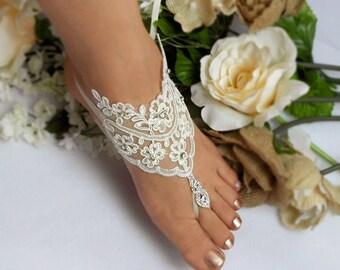 Light Ivory Lace  Wedding Barefoot Sandals, Rhinestone Bridal Foot Jewelry, Footless Sandal, Customizable Handmade-SD043