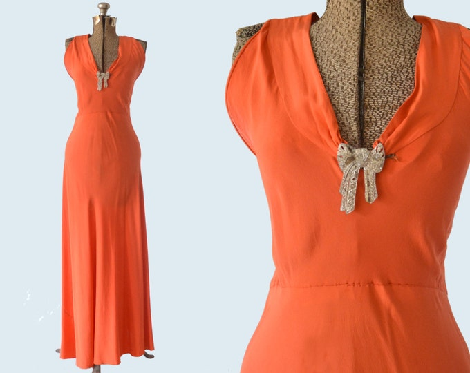 1920s Tangerine Silk Evening Dress