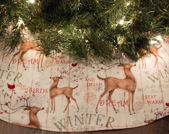 Christmas Tree Skirt-Deer-Winter-Snow-Cardinal-Bird-Holiday Decor-Christmas Decoration-Cardinals-Birds-Buck-Doe-48-50""